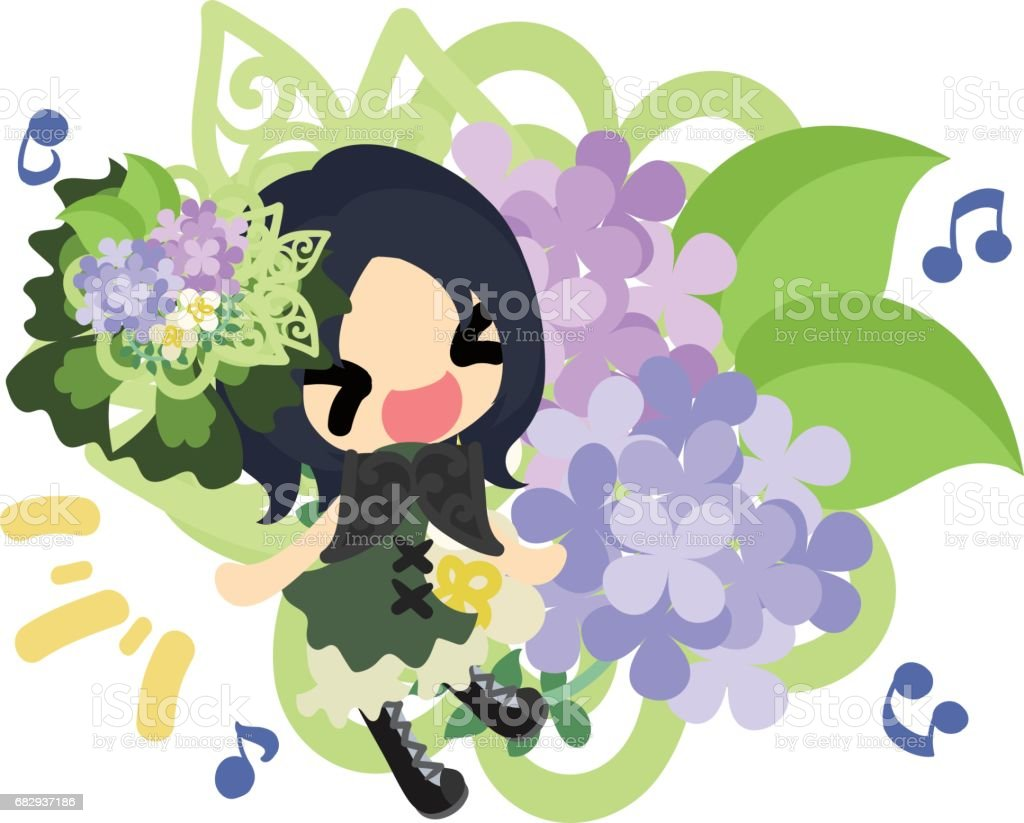 A cute girl and hydrangeas royalty-free a cute girl and hydrangeas stock vector art & more images of adult
