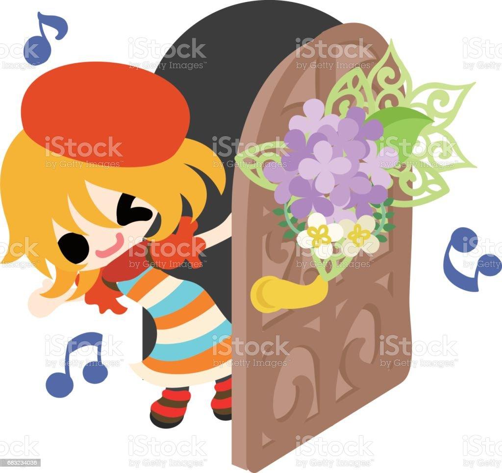 一個可愛的女孩和繡球花 免版稅 一個可愛的女孩和繡球花 向量插圖及更多 一個物體 圖片