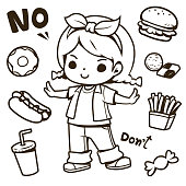 Cute girl and junk food doodle outline vector illustration. Donut, doughnut, hot dog, cookies, drink, candy, french fries. Used for coloring pages, book for kids, Embroidered pattern, etc.