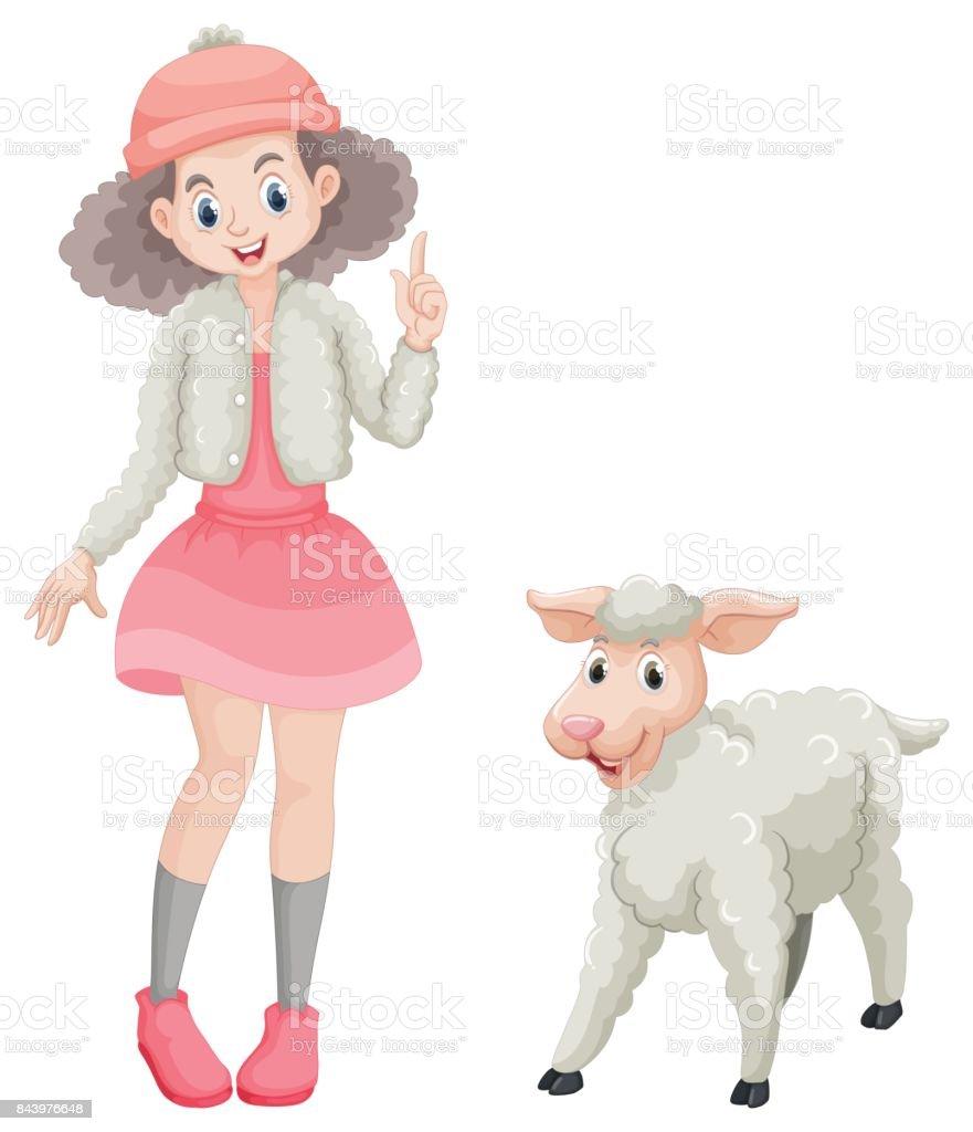 かわいい女の子と羊 アメリカ合衆国のベクターアート素材や画像を多数