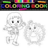 cute girl and peacock coloring book