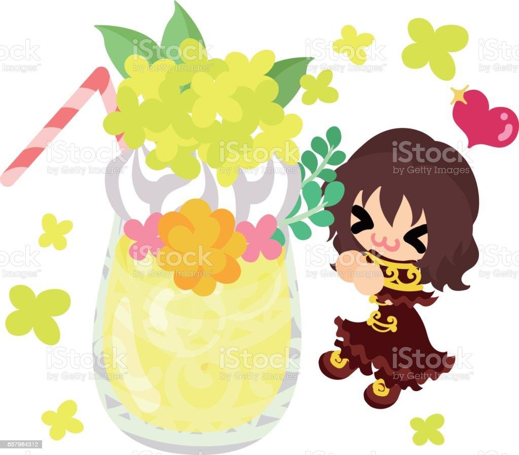 Cute Girl And Yellow Flowers Stock Vector Art 657984312 Istock