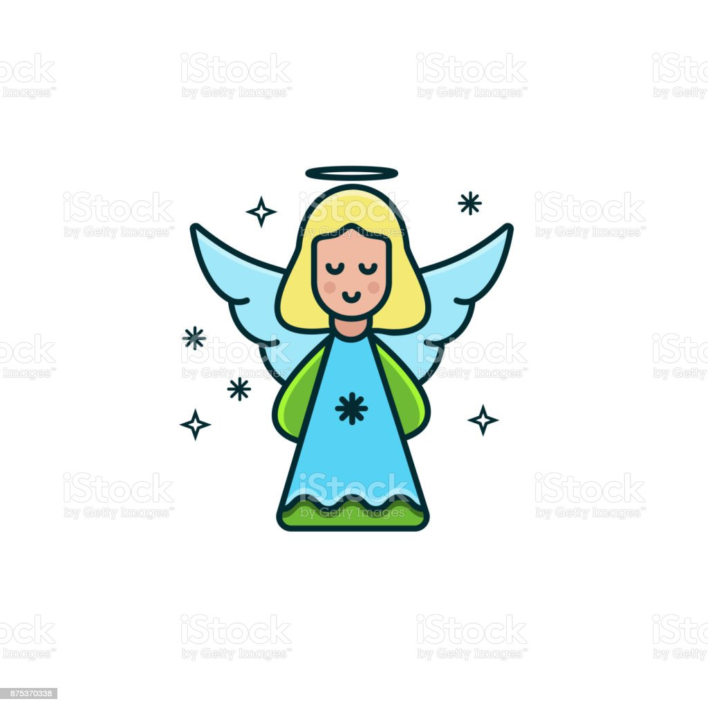Cute girl angel flat color line icon on isolated background. Christmas character design in trendy minimal design. Vector illustration of little angel with blonde hair and halo, blue wings and dress. vector art illustration