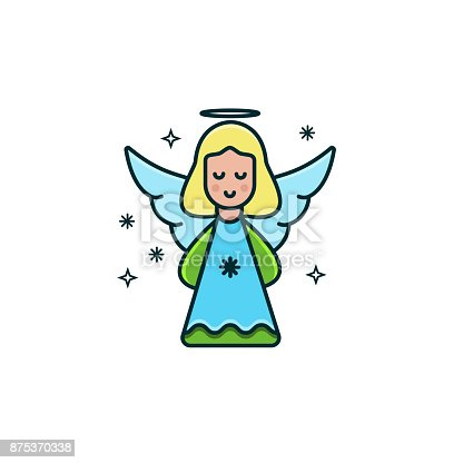 Cute Girl Angel Flat Color Line Icon On Isolated ...