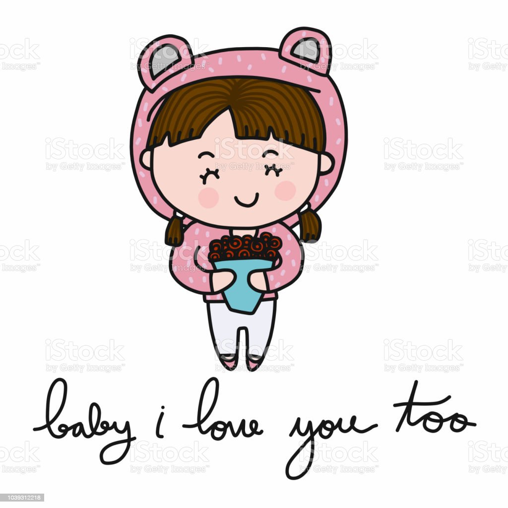 Cute Girl Baby I Love You Too With Rose Flower Stock Vector Art