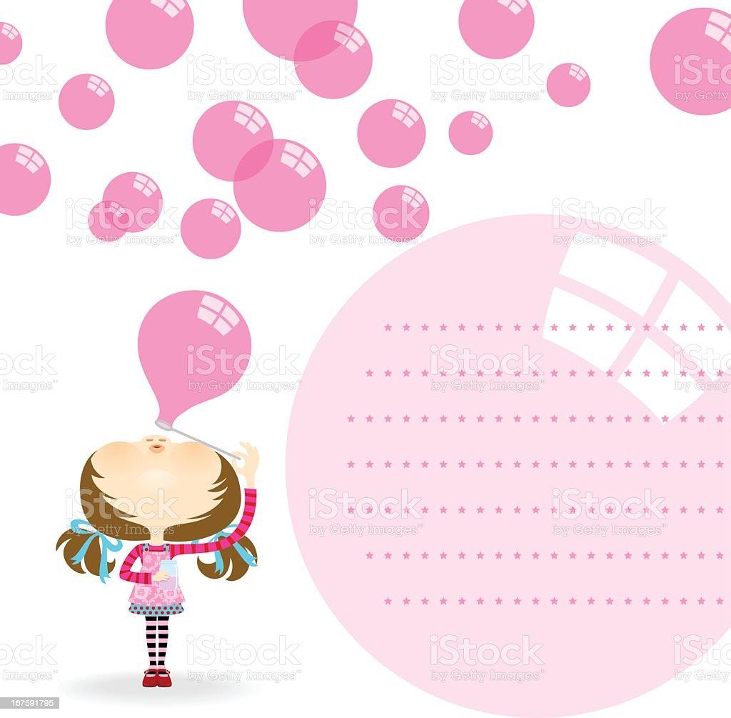 Cute girl blowing bubbles. Invitation, greeting card vector art illustration