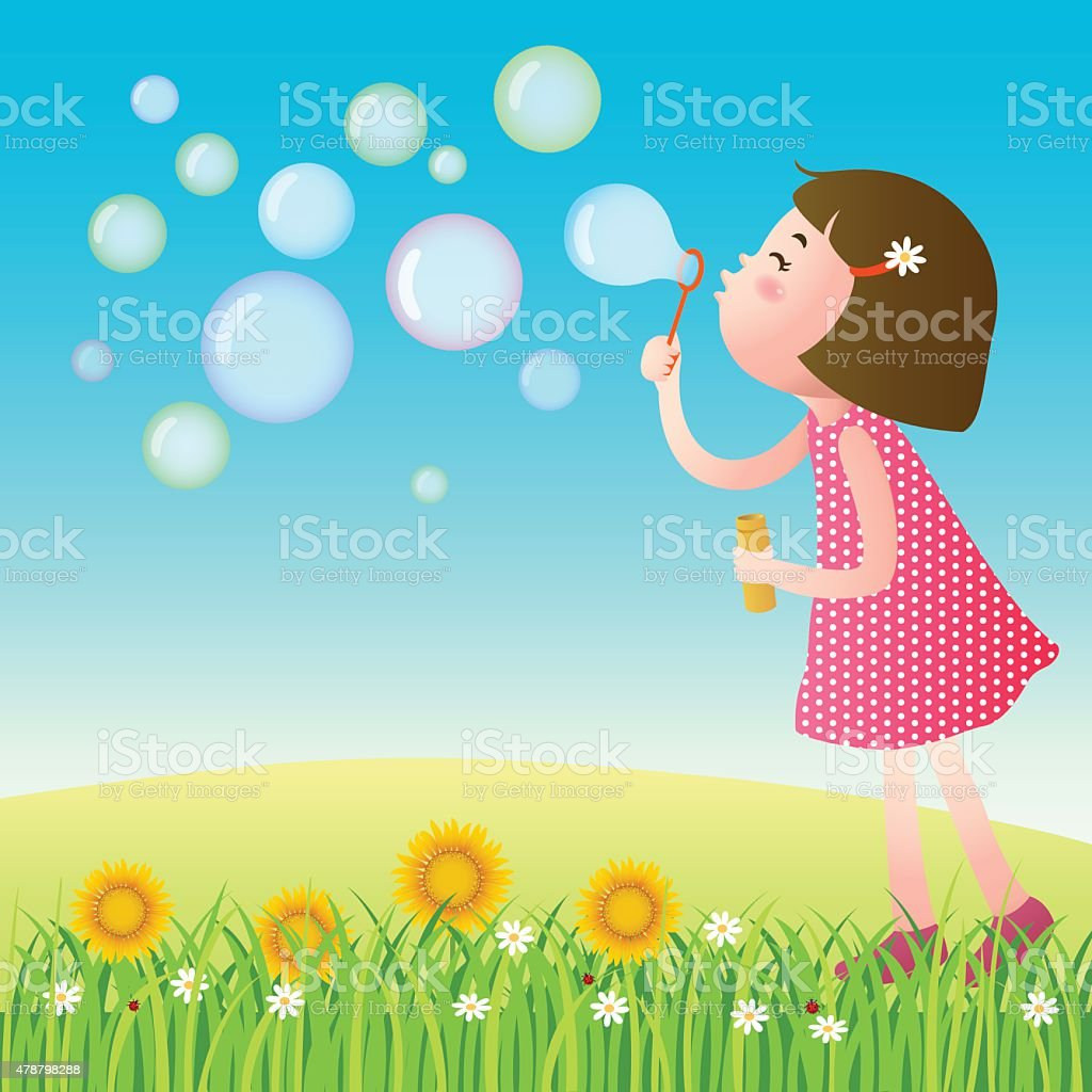 Cute girl blowing bubbles on the lawn vector art illustration