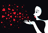 Cute girl blows with hands hearts. Air kiss. Illustration for romantic greeting cards and messages