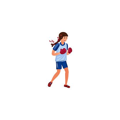 Cute girl boxer in blue sportswear. Vector illustration in the flat cartoon style