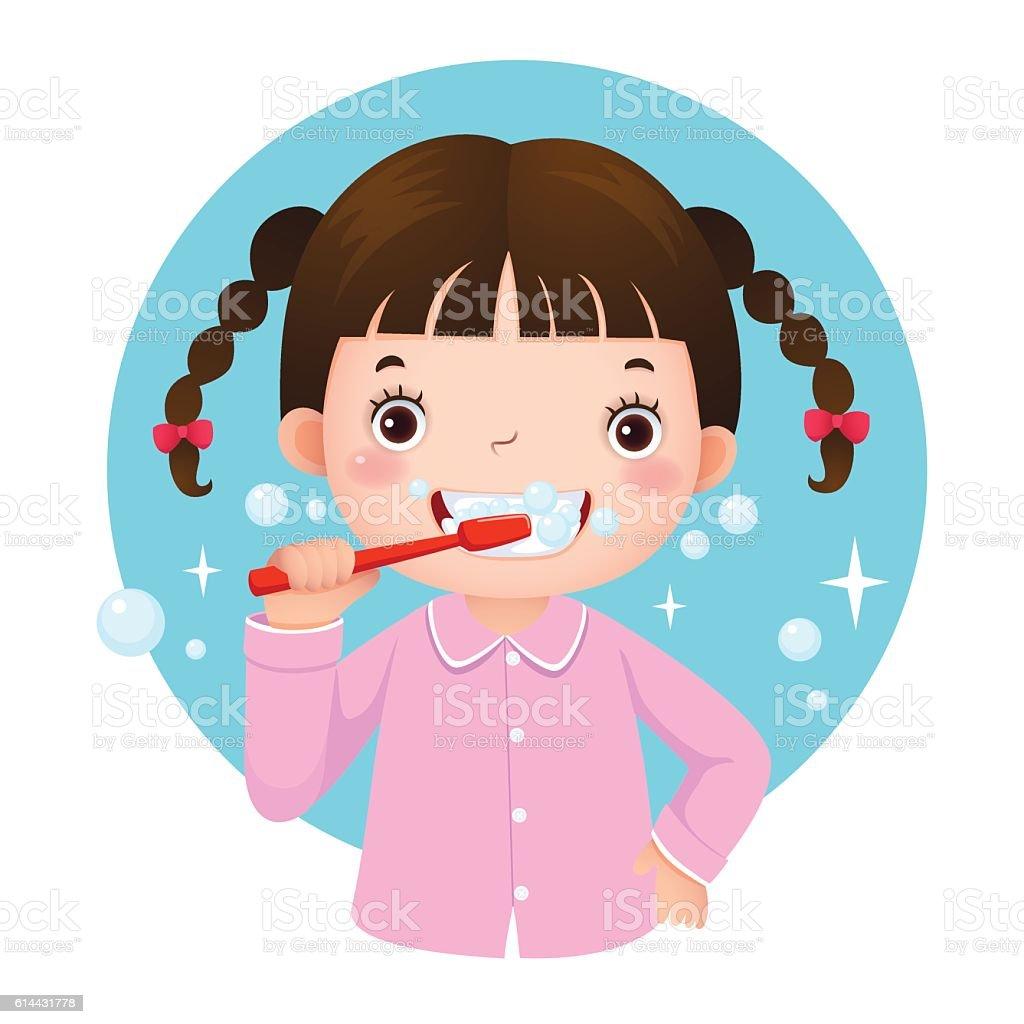 Cute girl brushing her teeth vector art illustration