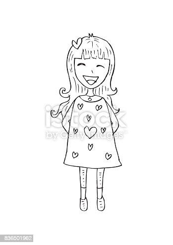 istock Cute girl cartoon 836501962