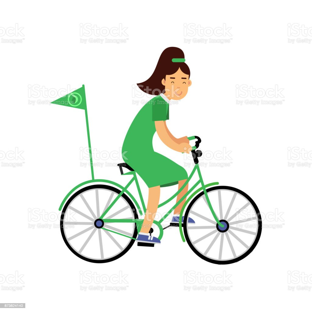 Ilustración De Personaje De Linda Chica En Vestido Verde