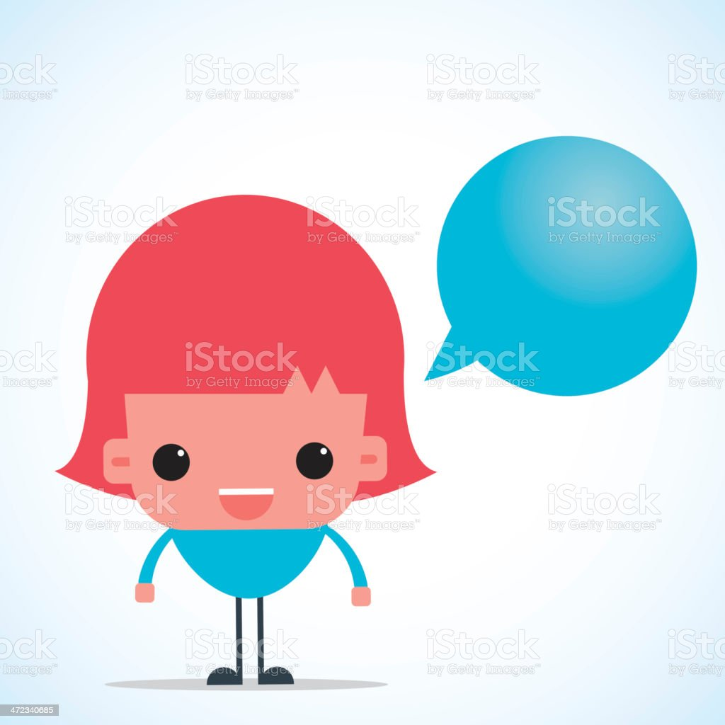 Cute girl character with speech bubble royalty-free cute girl character with speech bubble stock vector art & more images of adult