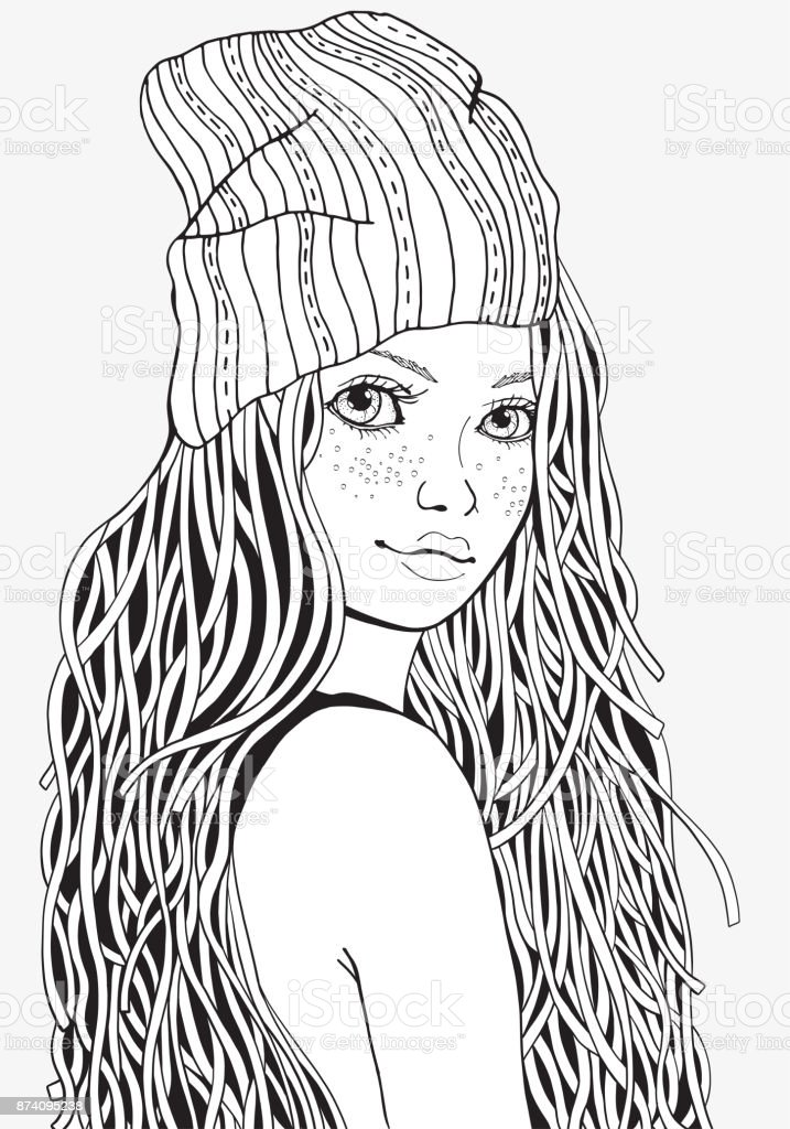 Cute Girl Coloring Book Page For Adult A4 Size Black And White ...