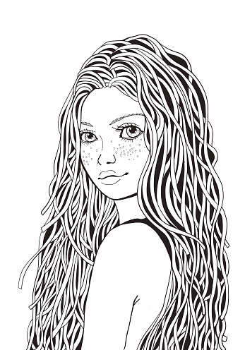 Cute Girl Coloring Book Page For Adult Black And White ...