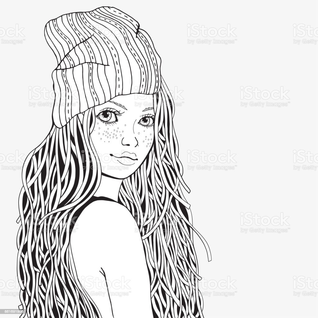 Cute Girl Coloring Book Page For Adult Black And White Doodle Style ...