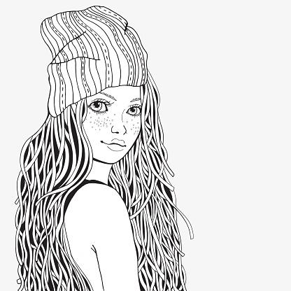 Nettes Mädchen Malvorlagen Buch Für Erwachsene Schwarz Und Weiß Doodlestil Stock Vektor Art und mehr Bilder von Attraktive Frau