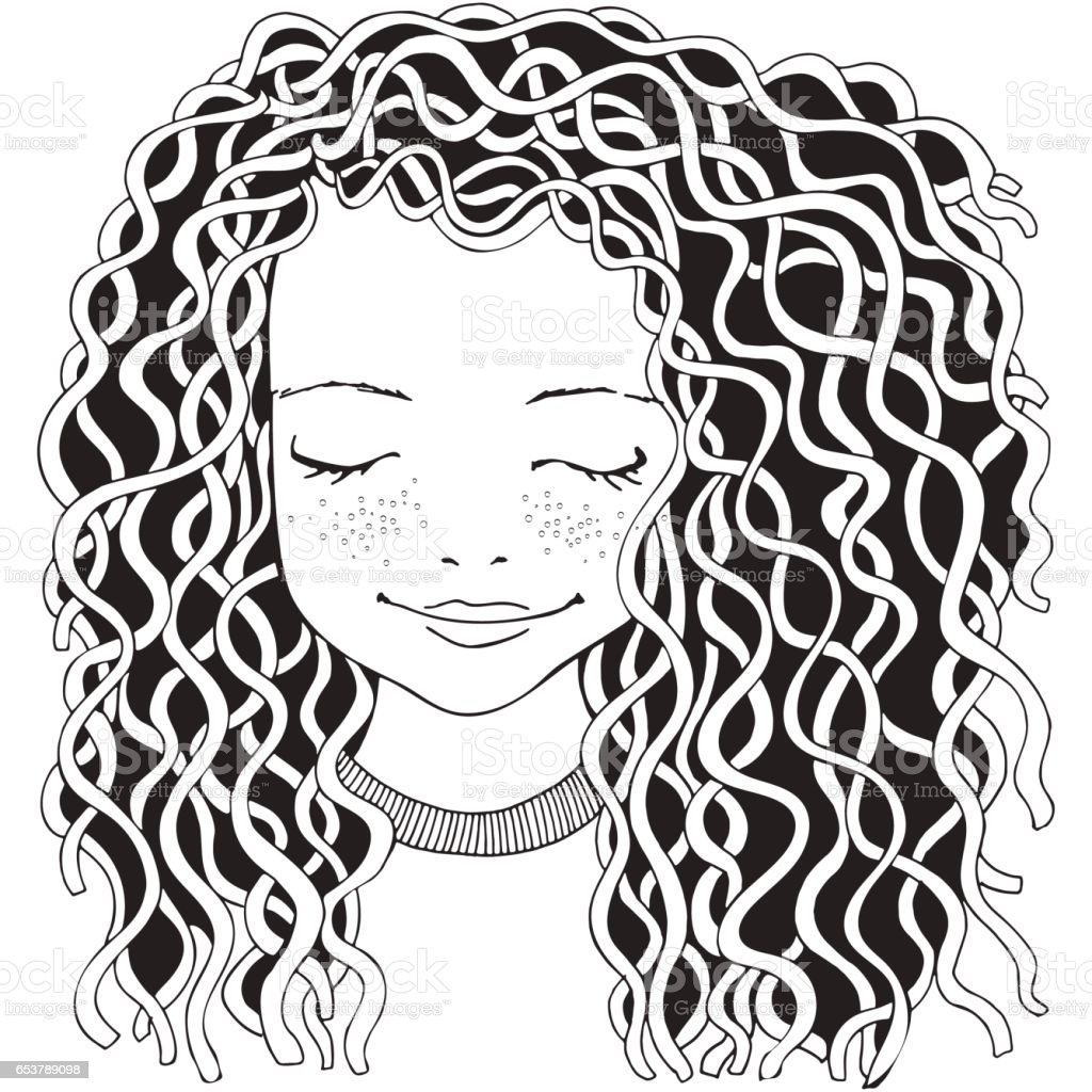 Cute girl. Coloring book page for adult. vector art illustration