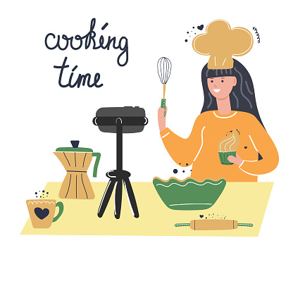 Cute girl cook teaches cooking courses online, food blogger, video lessons, freelance concept. Flat illustration.