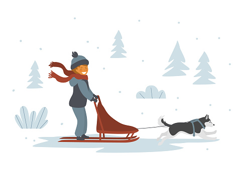 cute girl dog sledding isolated vector illustration scene