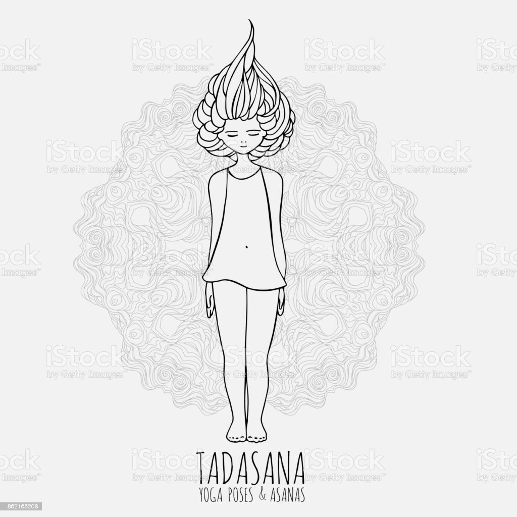 Cute Girl Doing Yoga Yoga Poses And Asanas In Handdrawn Style Woman