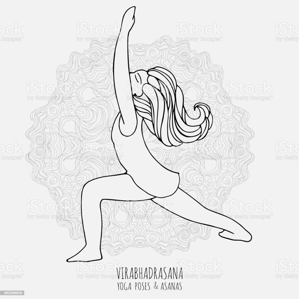 Jolie Fille Faire Du Yoga Poses De Yoga Et Asanas En Style Dessines A La Main Femme Faisant Des Exercices Dyoga Yoga Et Relaxation Doodle Illustration Vectorielle Poses De Yoga De Femme