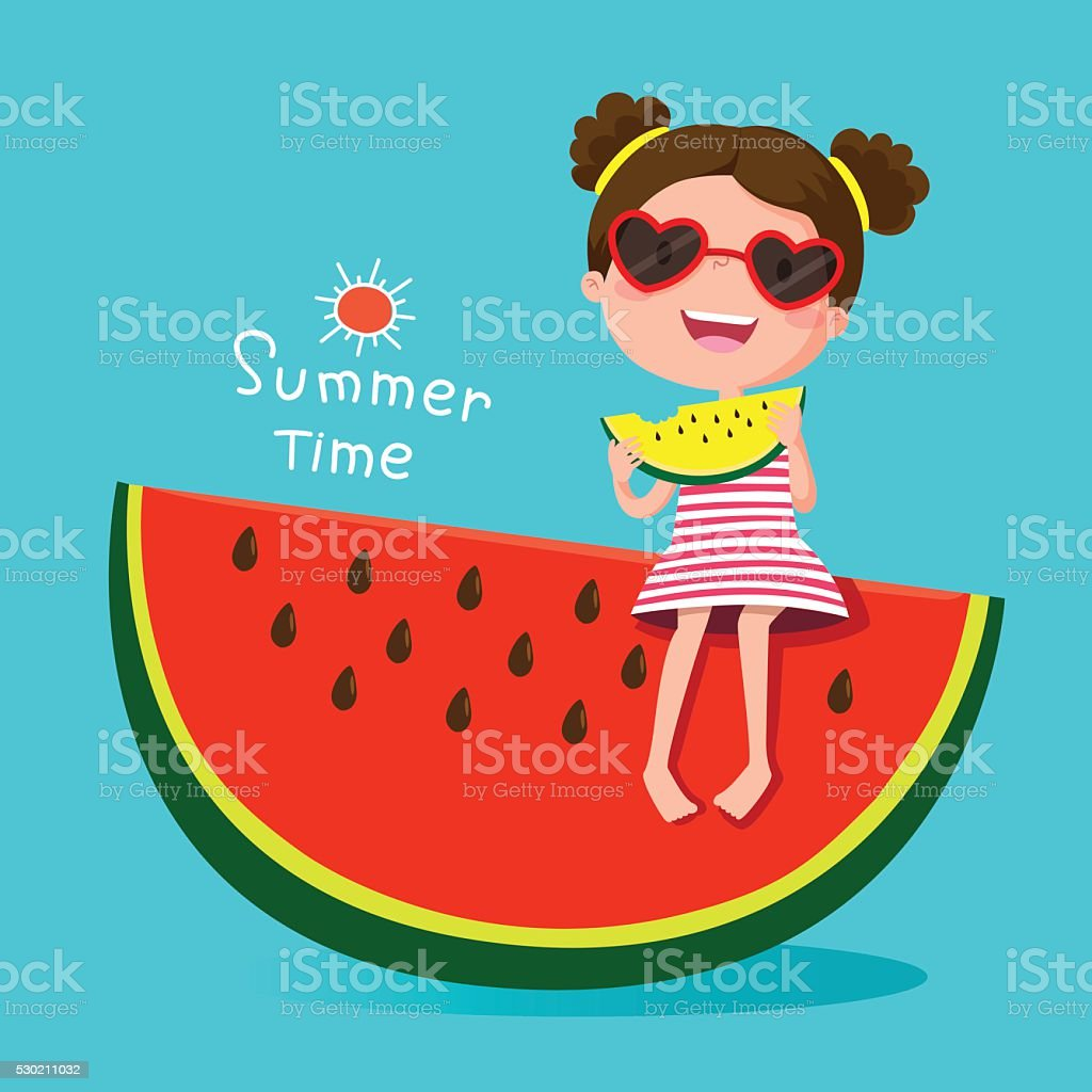 Cute girl eating watermelon vector art illustration