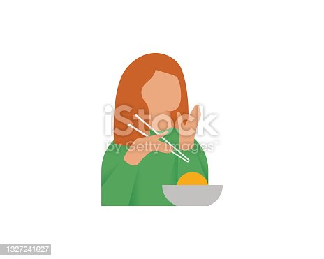 istock Cute girl eats food with chopsticks. A woman enjoys her meal. Vector illustration on a white background. 1327241627