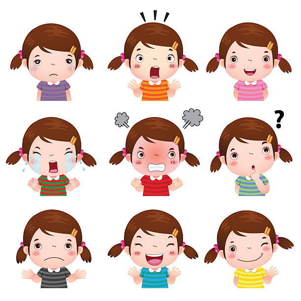 cute girl faces showing different emotions - tears of joy emoji stock illustrations