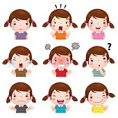 Cute girl faces showing different emotions