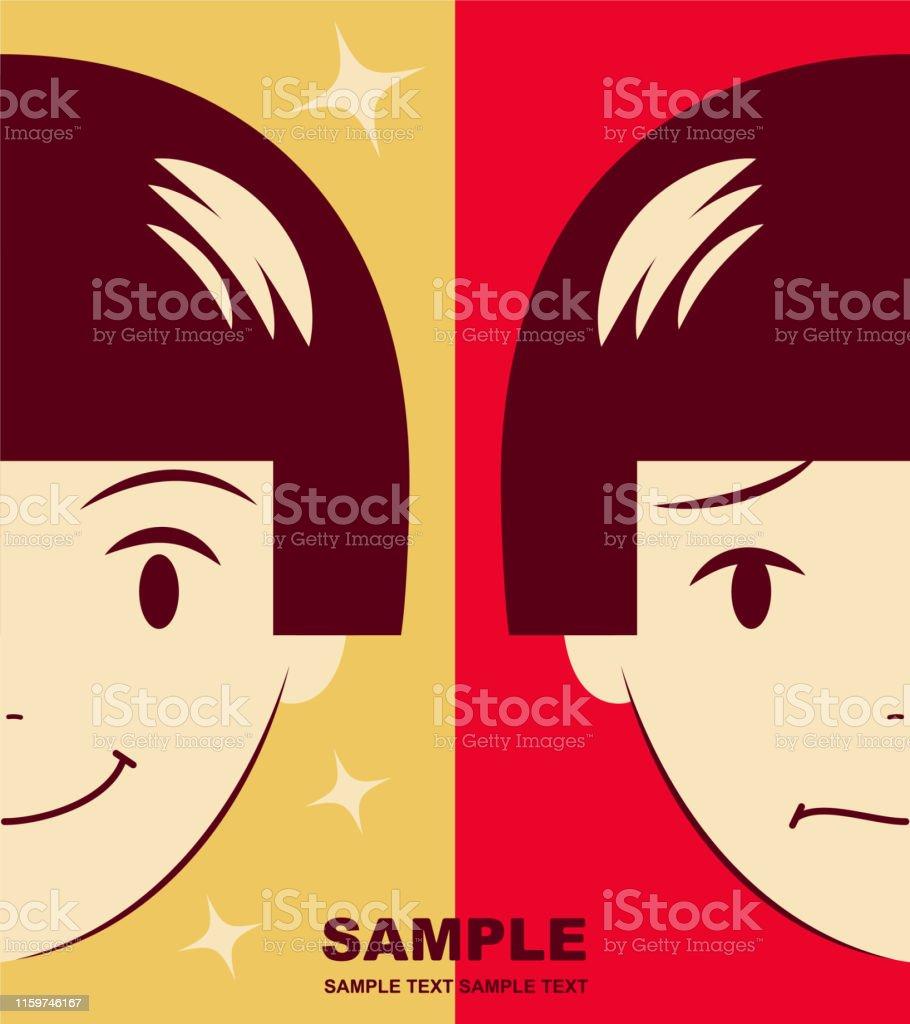 Unique Characters Vector art illustration. Cute girl facial...