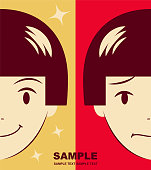 Unique Characters Vector art illustration. Cute girl facial expression on happy and sad.