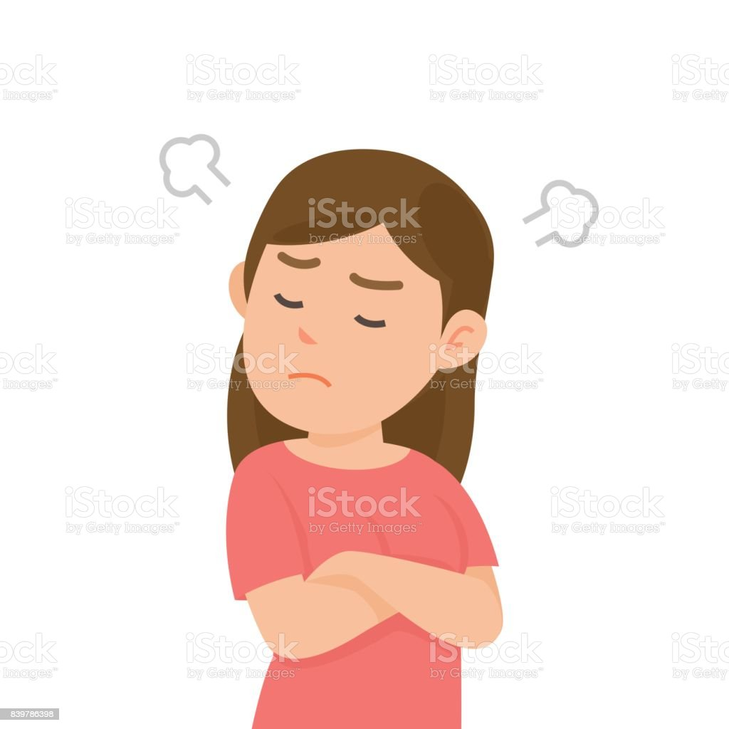 Cute Girl Gets Mad Angry Fighting With Blowing From Ears Expression Vector Illustration Stock Illustration Download Image Now Istock