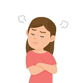Cute girl gets mad angry fighting with blowing from ears expression, Vector illustration.