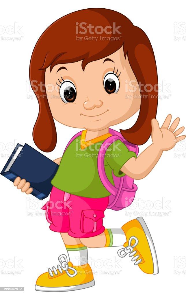 Cute girl go to school vector art illustration