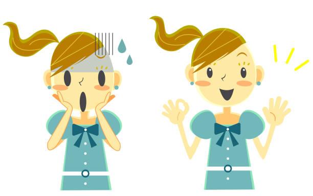 stockillustraties, clipart, cartoons en iconen met schattig meisje, happy & unhappy serie - alleen één meisje