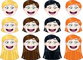 Vector illustration pack of cute girl heads.