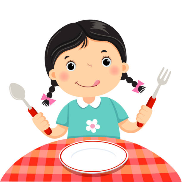 Cute girl holding a spoon and fork with empty white plate on white background vector art illustration