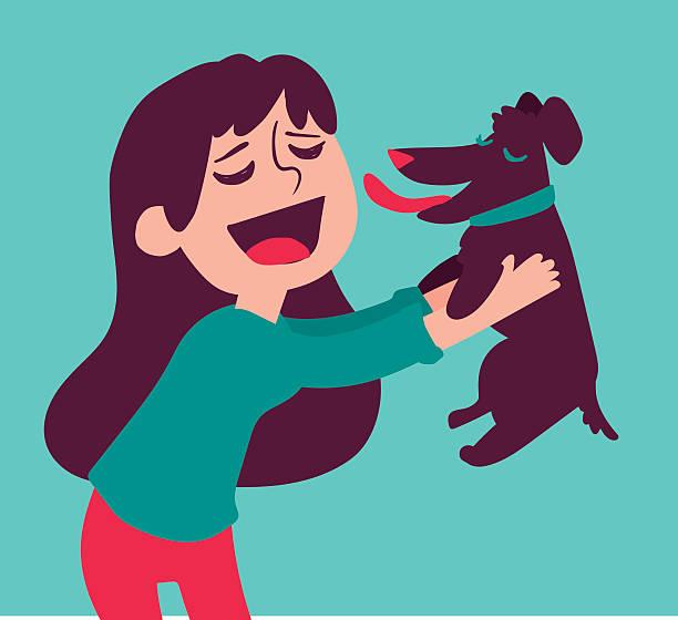 cute girl holding dog - maul stock-grafiken, -clipart, -cartoons und -symbole