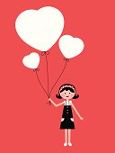 Vector illustration - Cute girl holding love heart balloon.