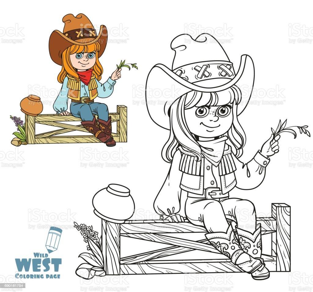 Ilustración de Linda Chica En Un Traje De Vaquero Se Encuentra En ...