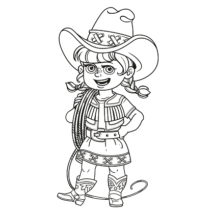 Cute girl in a cowboy suit is holding a lasso on her shoulder outlined