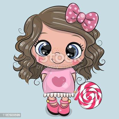 Cute Cartoon Girl in a pink dress with Lollipop