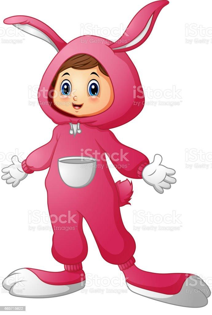 e06dc3864 Linda garota com uma fantasia de coelho rosa vetor de linda garota com uma fantasia  de