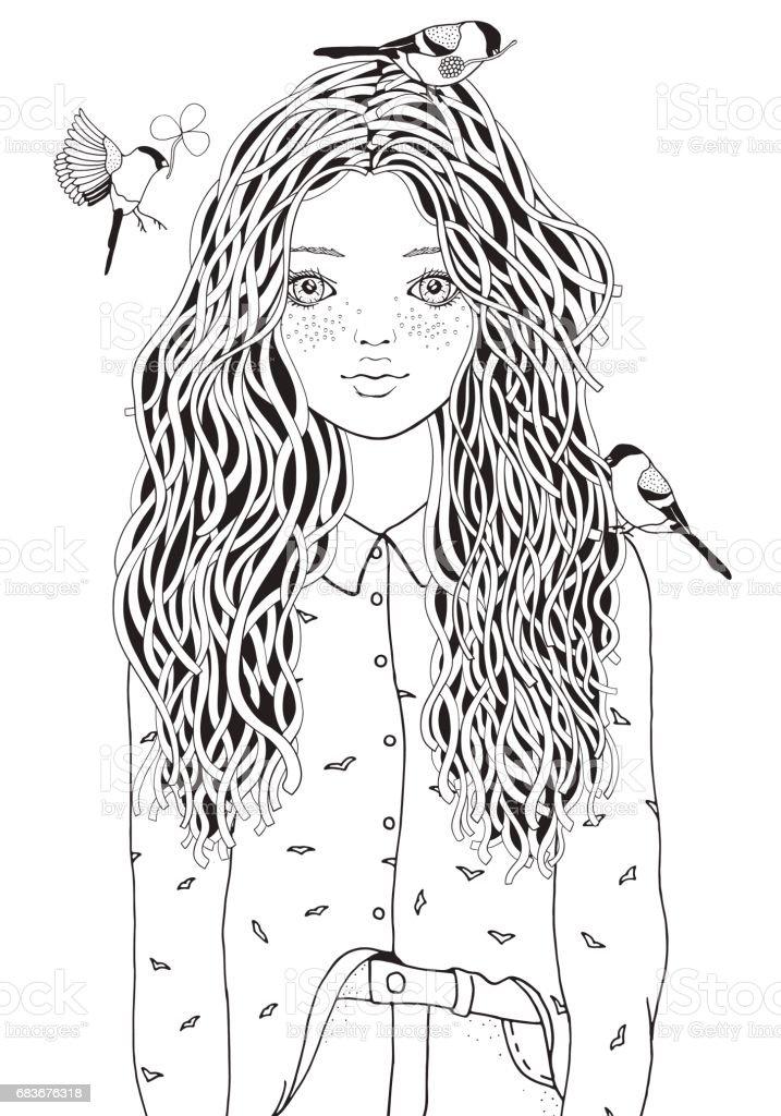 Ilustración de Linda Chica En Una Camisa Las Aves Están Volando ...