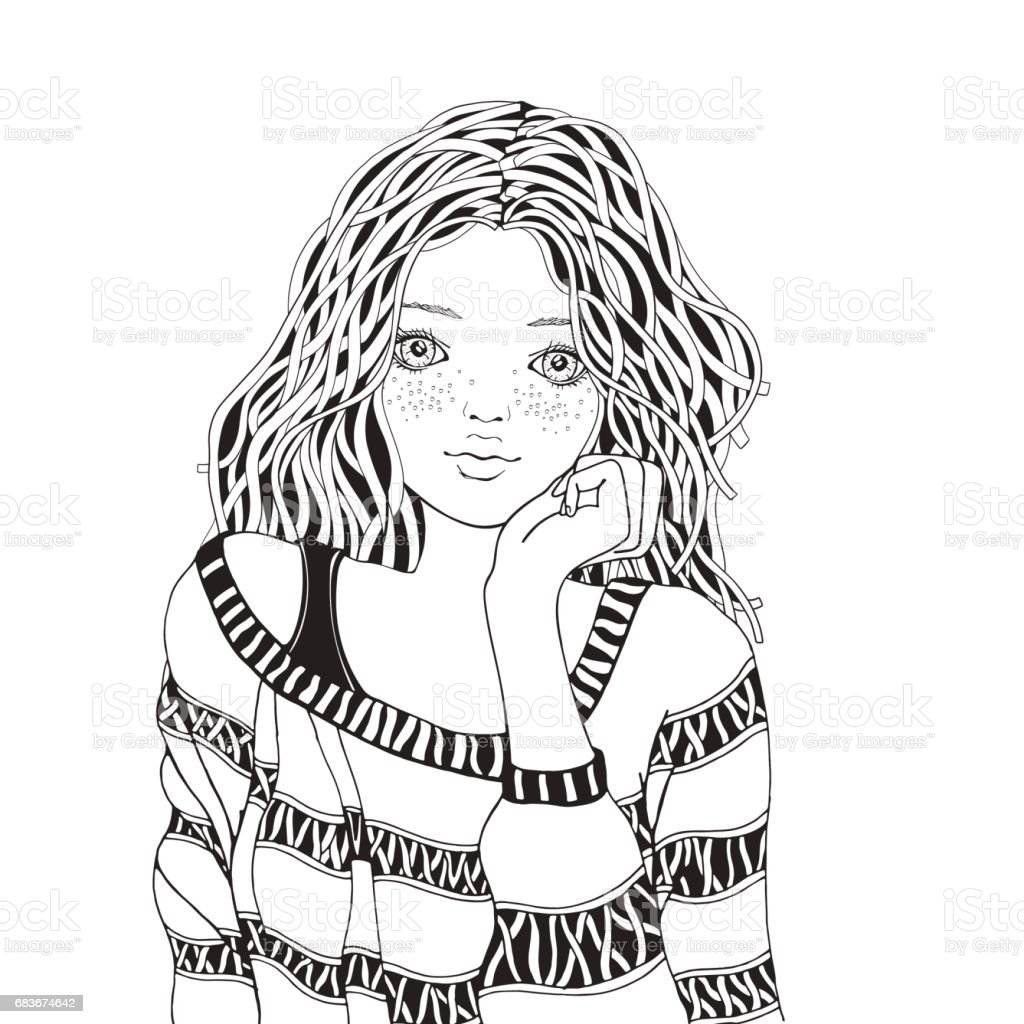 Cute Girl In A Striped Sweater Coloring Book Page For Adult Black ...