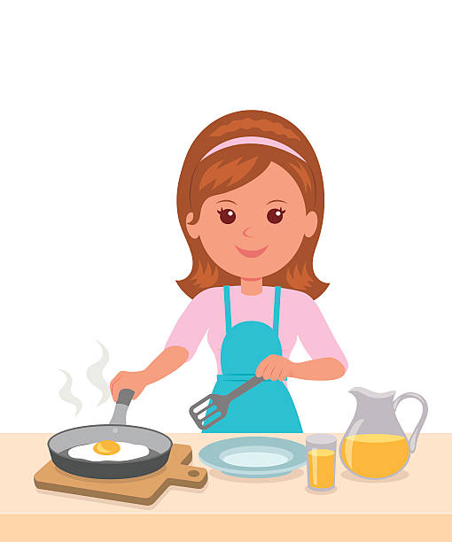 Royalty Free Mom Making Breakfast Clip Art, Vector Images ...