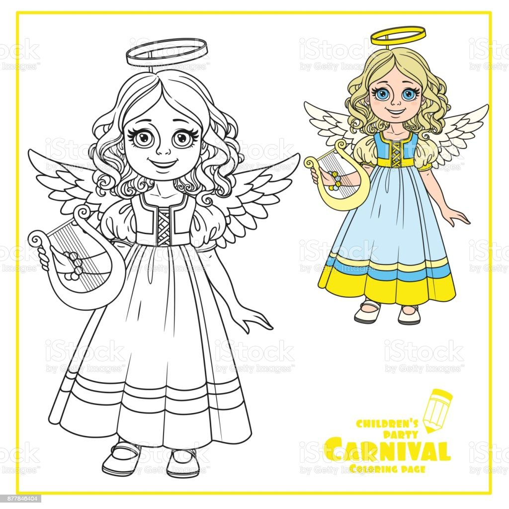 Cute girl in angel costume color and outlined for coloring page vector art illustration