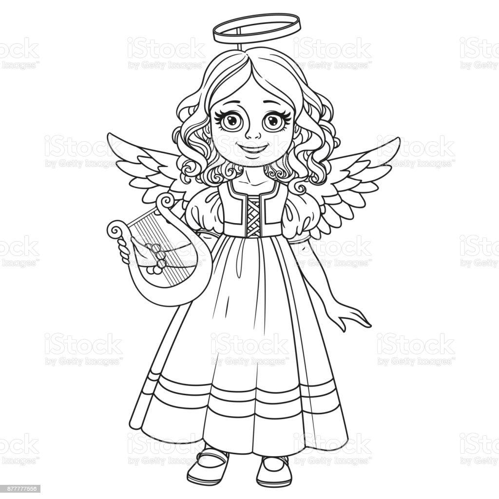 Niedliche Mädchen In Engel Kostüm Für Malvorlagen Skizziert Stock ...