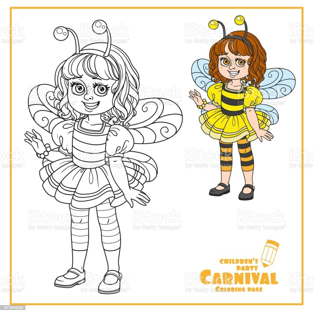 Niedliche Mädchen In Biene Kostüm Farbe Und Skizziert Für ...